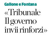 Personale tribunale di Bergamo, Forza Italia:«Il governo invii rinforzi»