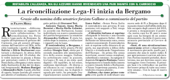 La riconciliazione Lega-Fi inizia da Bergamo