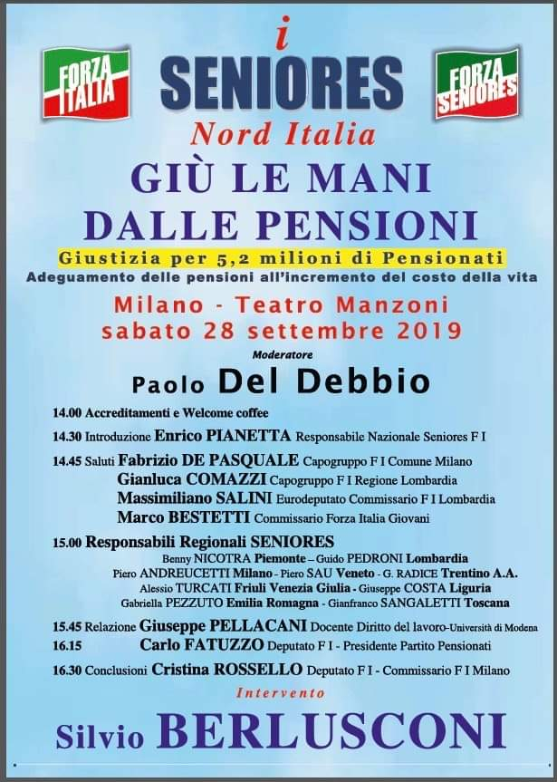 Convegno giù le mani dalle pensioni – Milano, 28 settembre 2019