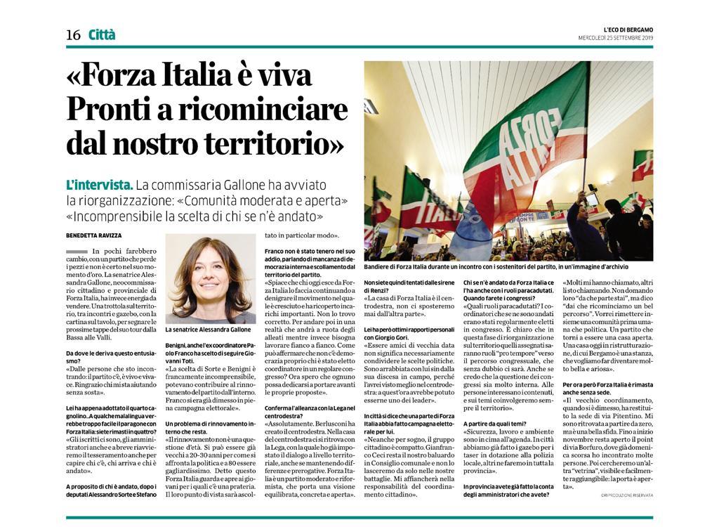 «Forza Italia è viva. Pronti a ricominciare dal nostro territorio»