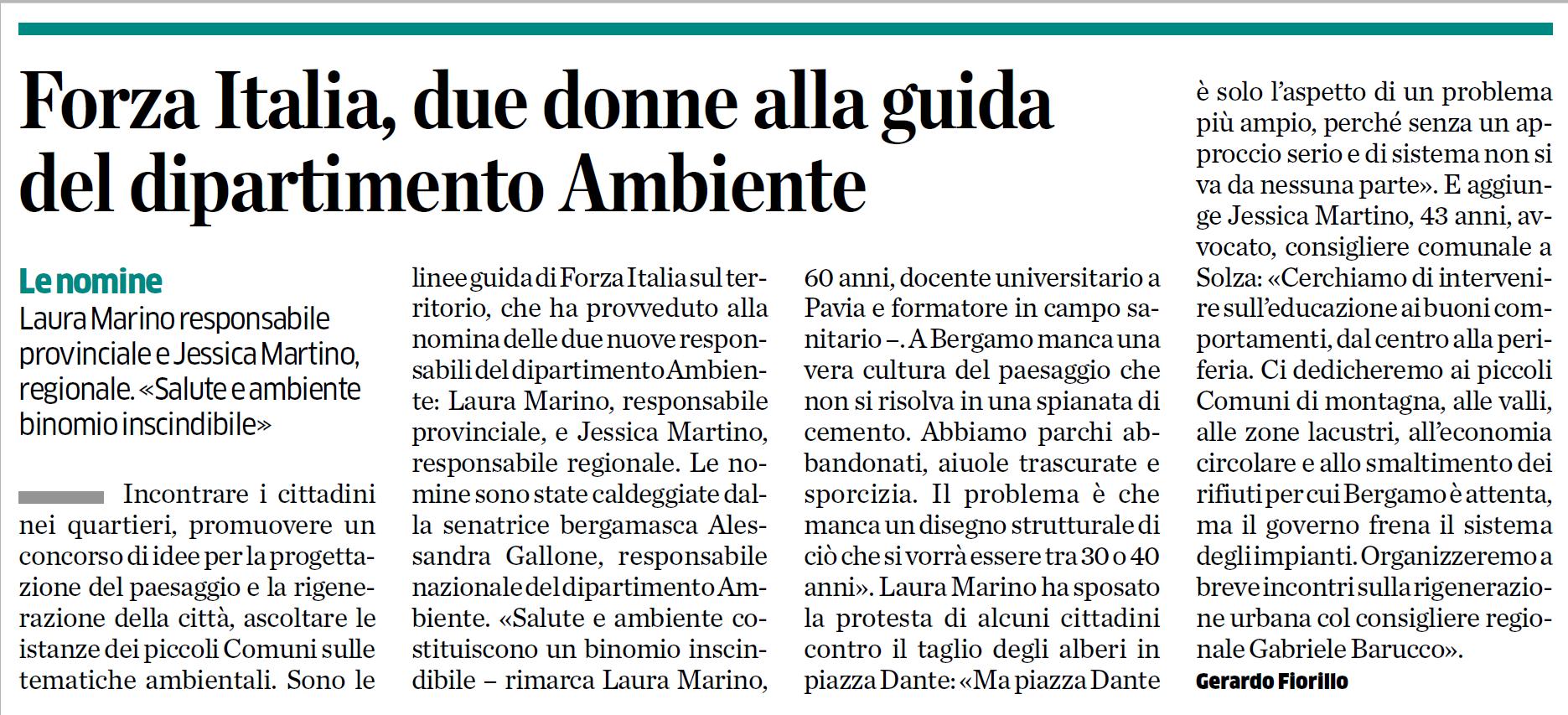 Forza Italia, due donne alla guida del dipartimento Ambiente