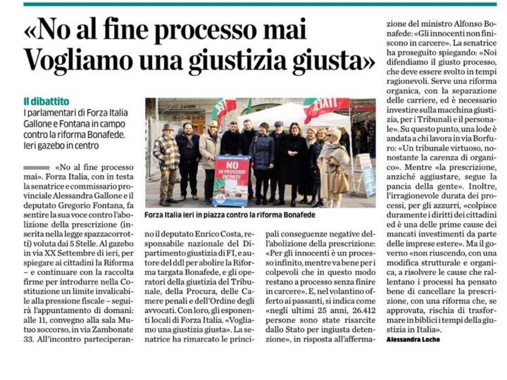 Mobilitazione contro la riforma prescrizione, Forza Italia: «No al fine processo mai. Vogliamo una giustizia giusta»