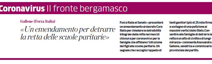 """Coronavirus, Gallone (FI): """"Forza Italia chiede detraibilità rette scuole paritarie"""""""