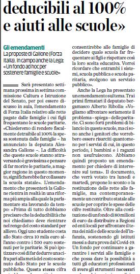 """La proposta di Forza Italia Bergamo: """"Paritarie, rette deducibili al 100% e aiuti alle scuole"""""""