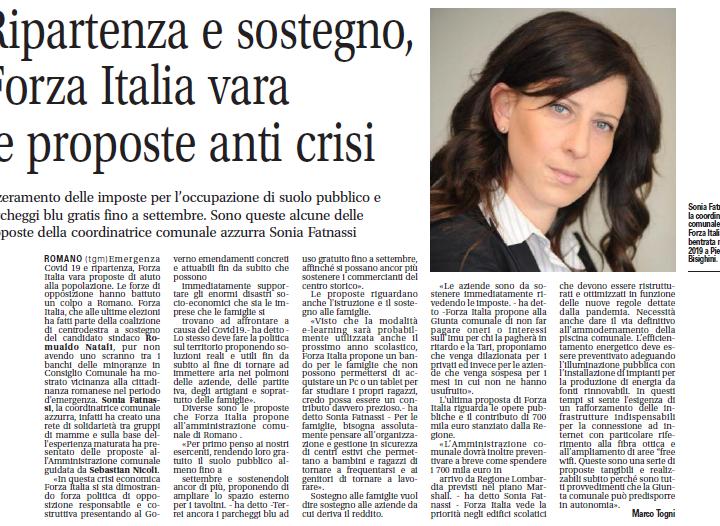 Romano di Lombardia, ripartenza e sostengo, Forza Italia vara le proposte anti crisi.