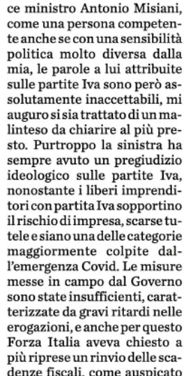 """Fisco, Fontana (FI): """"Da Governo grave pregiudizio contro le partite Iva"""""""