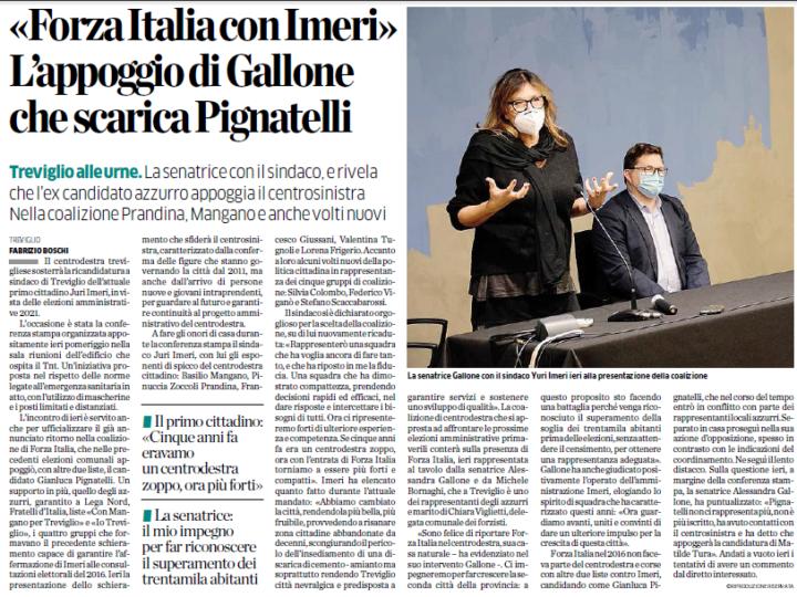 Forza Italia con Imeri. L'appoggio di Alessandra Gallone