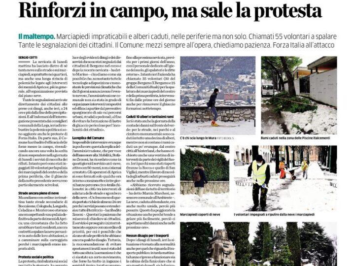 Neve a Bergamo, Forza Italia all'attacco.