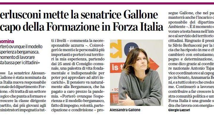 Alessandra Gallone a capo della Formazione di Forza Italia