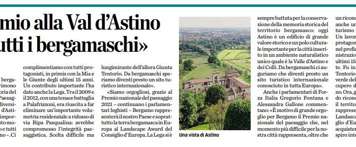 """Premio ad Astino, Fontana e Gallone (FI): """"Orgogliosi per il prestigioso riconoscimento. Merito di un grande lavoro"""""""