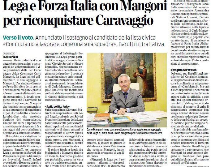 Lega e Forza Italia con Mangoni per riconquistare Caravaggio