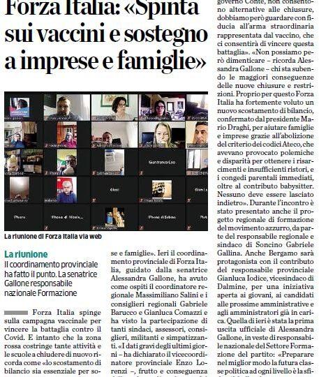 Forza Italia: «Spinta sui vaccini e sostegno a imprese e famiglie»