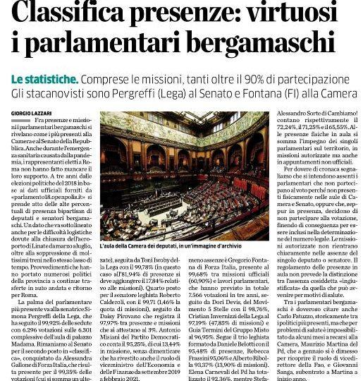 I parlamentari bergamaschi di Forza Italia Gregorio Fontana e Alessandra Gallone migliori come presenze fra Camera e Senato.