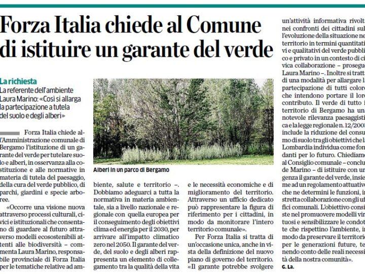 Forza Italia chiede al Comune di istituire un garante del verde