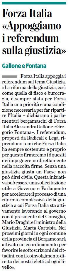 Forza Italia «Appoggiamo i referendum sulla giustizia»