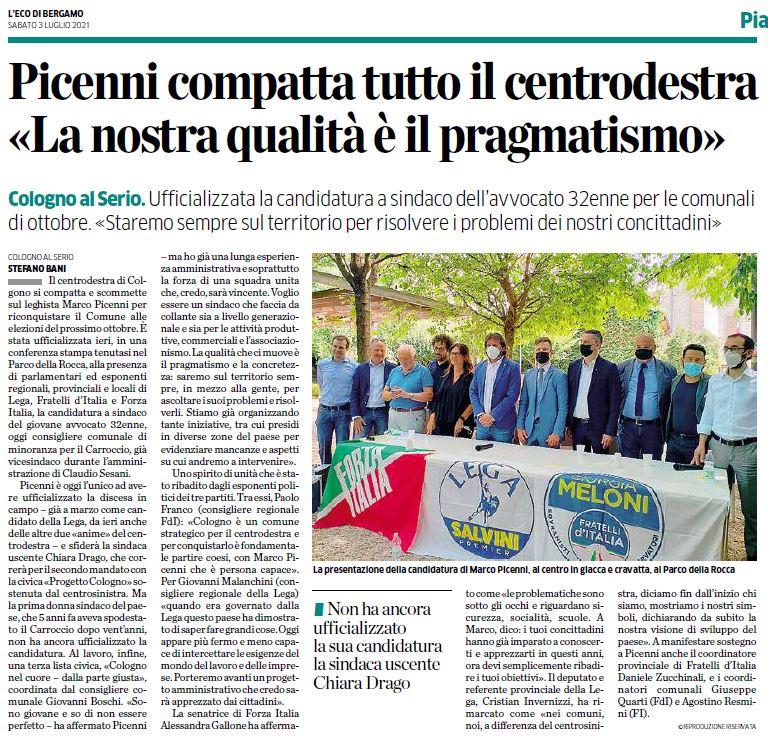 Forza Italia in campo a Cologno al Serio con tutto il centrodestra