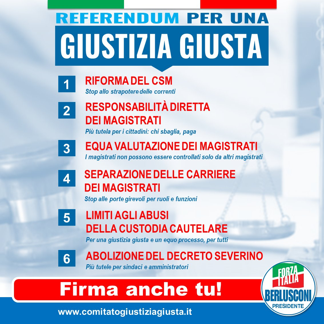 CAMPAGNA RACCOLTA FIRME REFERENDUM GIUSTIZIA, SI PARTE!