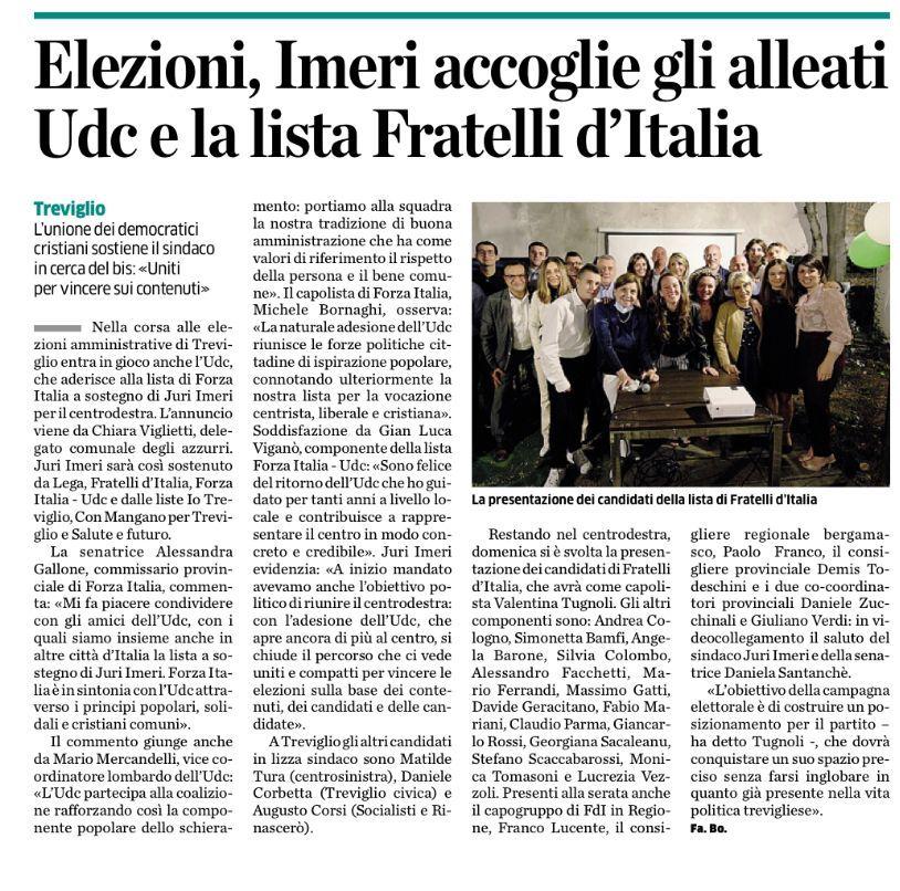Treviglio, Forza Italia cresce, in campo anche l'Udc.