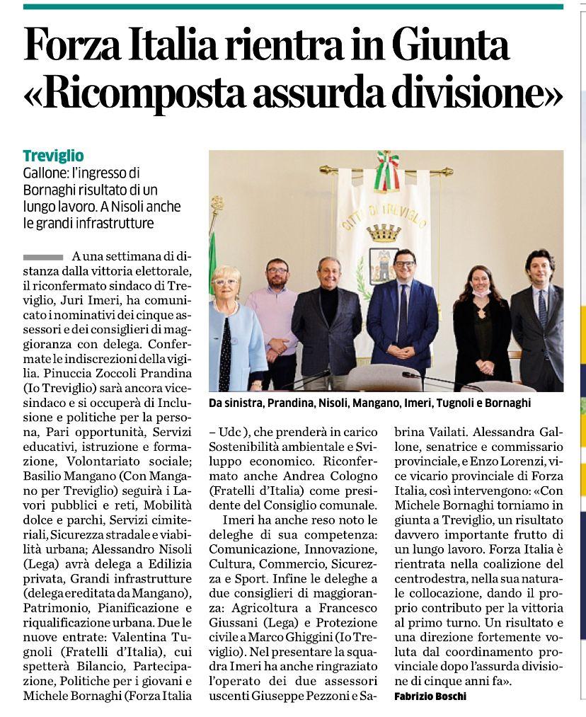 """Forza Italia: """"Con Michele Bornaghi torniamo in giunta a Treviglio, un risultato davvero importante frutto di un lungo lavoro""""."""